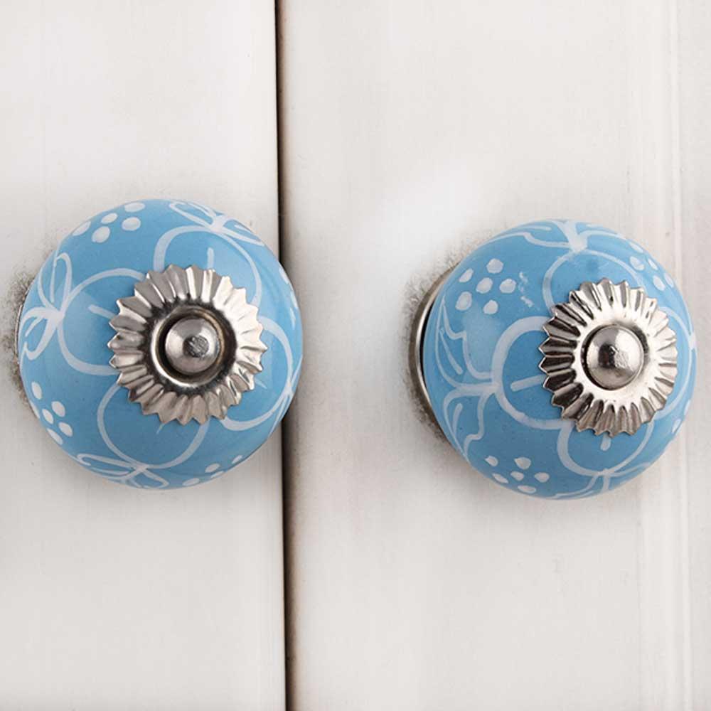 Blue Etched Flower Knob