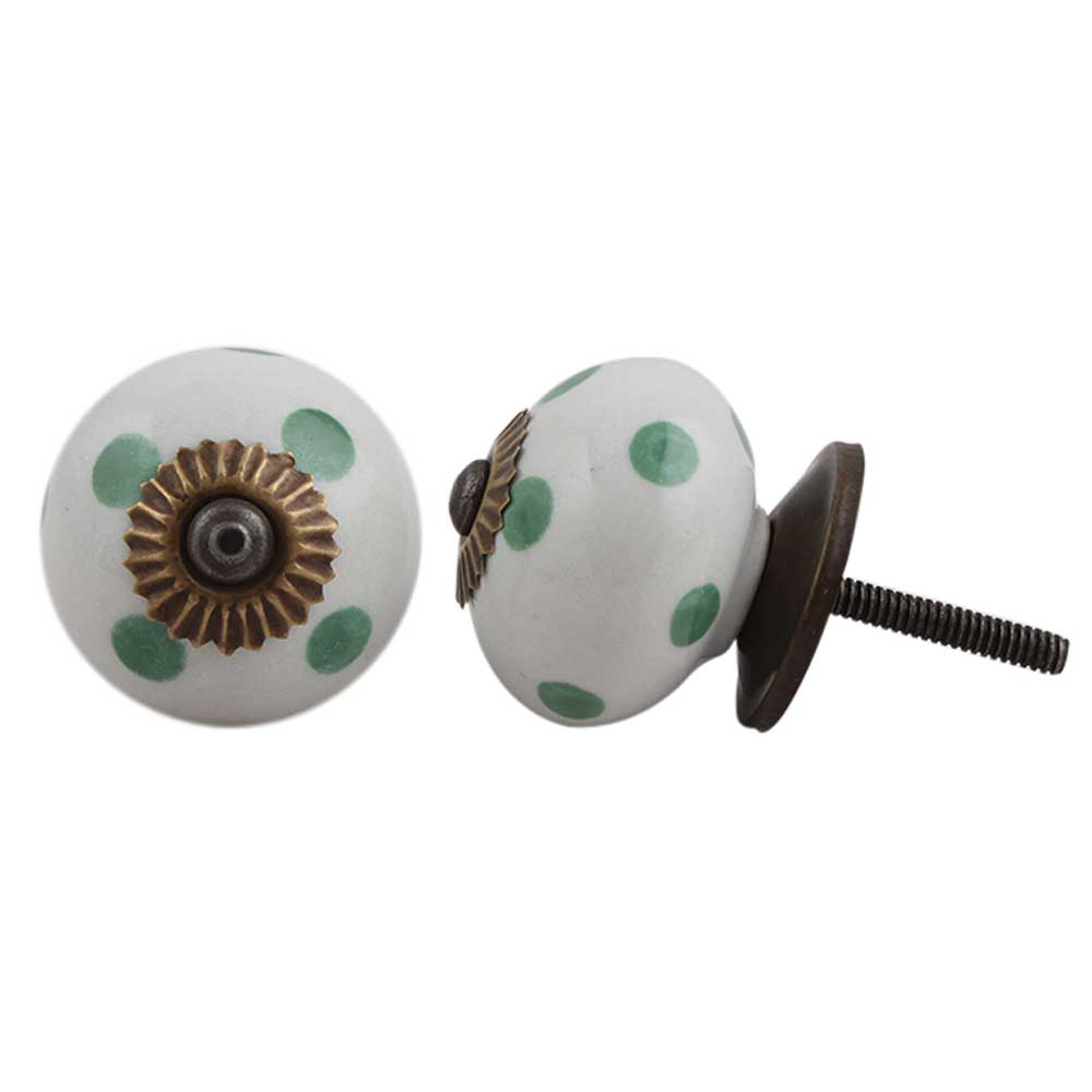 White Green Polka Dot Ceramic Cabinet Knob