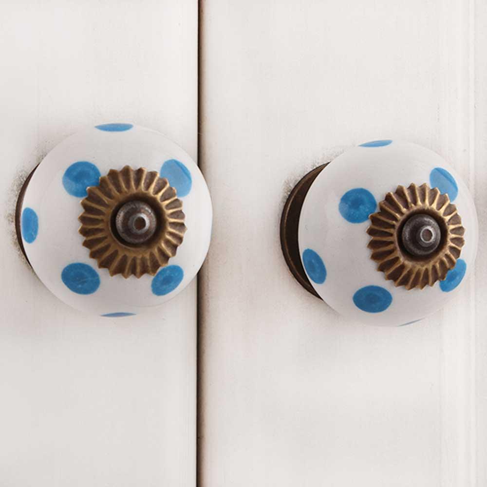 White Blue Polka Dots Ceramic Drawer Knob
