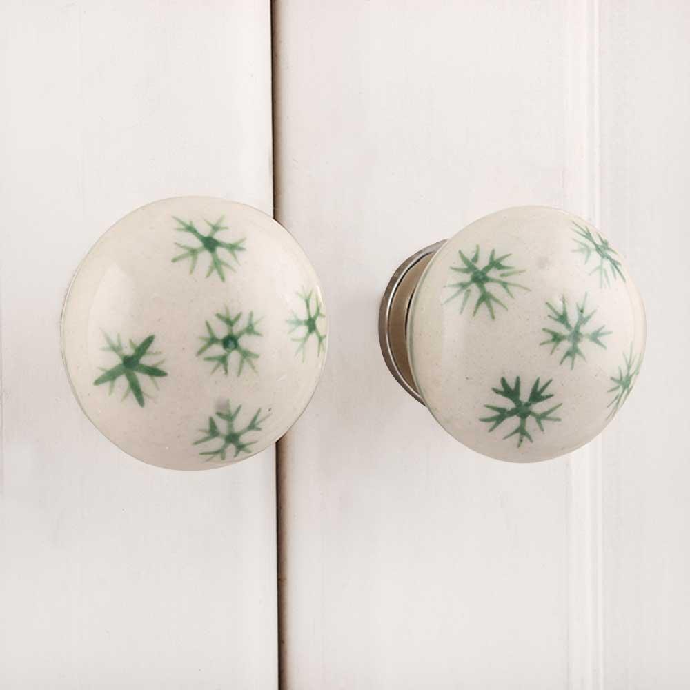 White Green Snow Flakes Knob