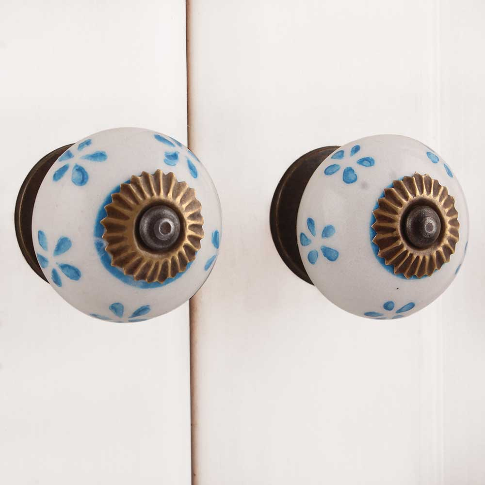 Turquoise Small Flower Knob