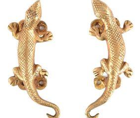 Lizard Golden Brass Door Handle or Drawer Pull