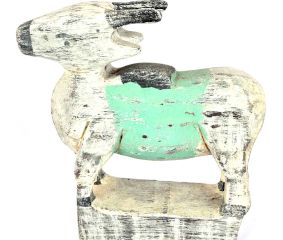Standing Wooden Cow with Pastel Green Band on the Back