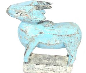 Blue Coloured Hand Made Wooden Cow