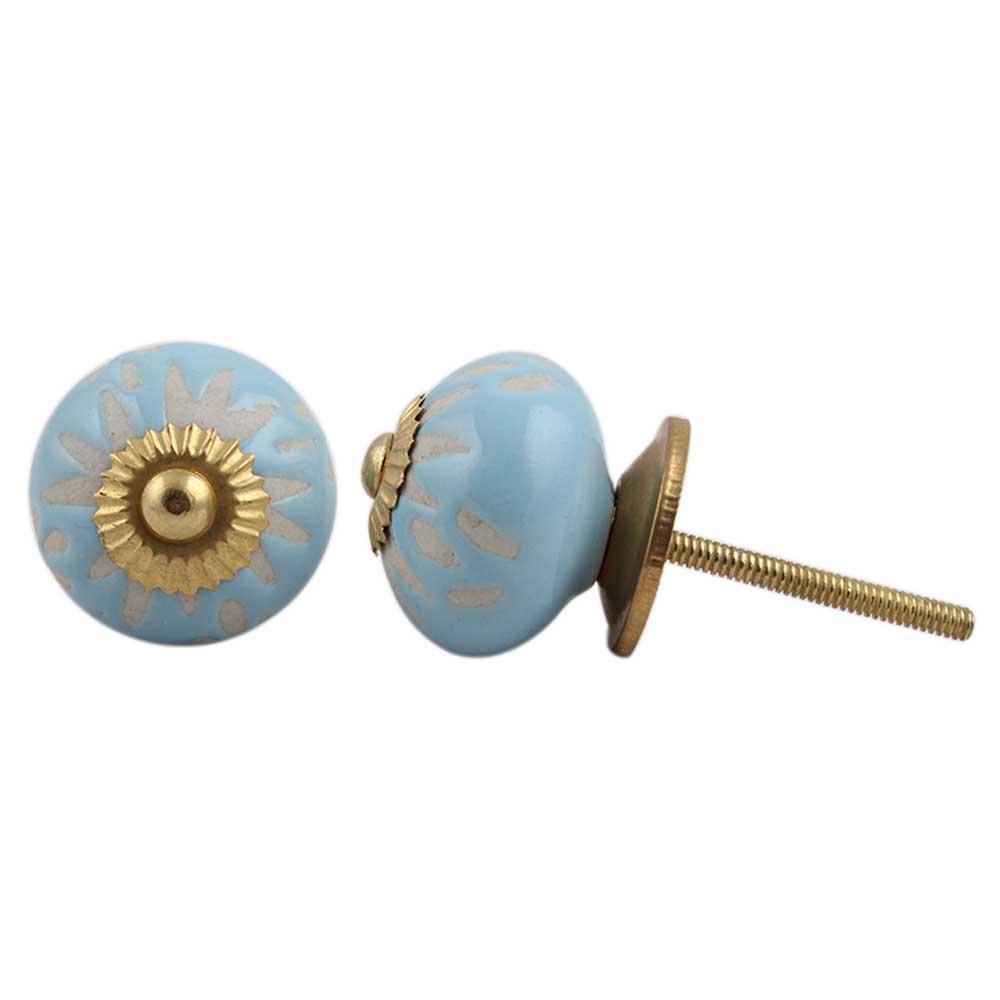 Turquoise Etched Ceramic Knob 39