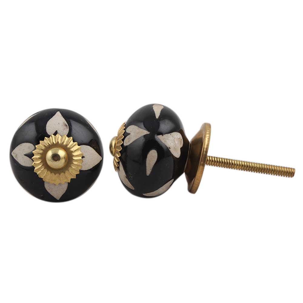 Black Etched Ceramic Knob 40