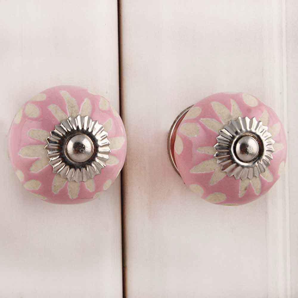 Pink Etched Ceramic Knob 43