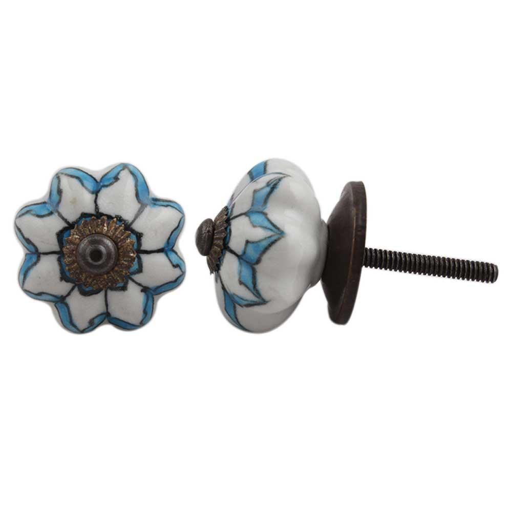 Blue Medium Dahlia Knob