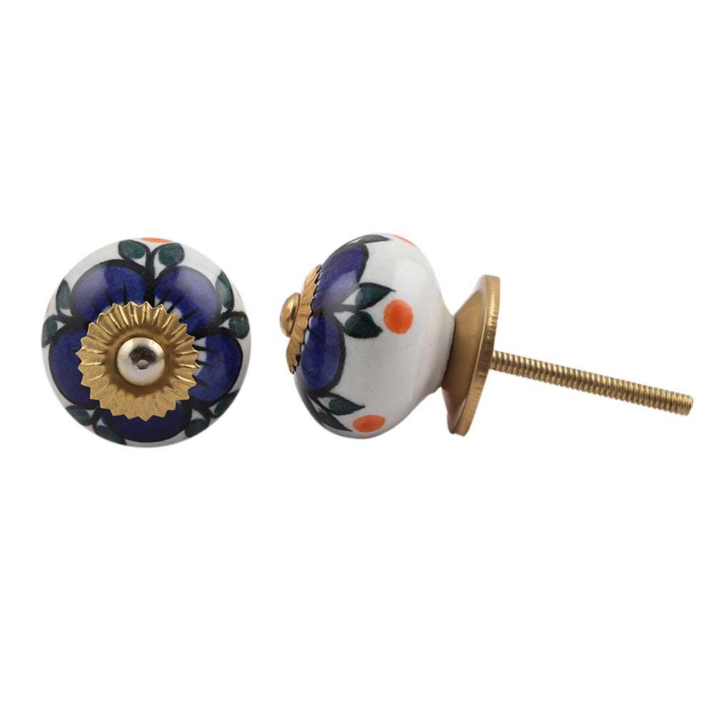 Turquoise Flower Dresser Knob