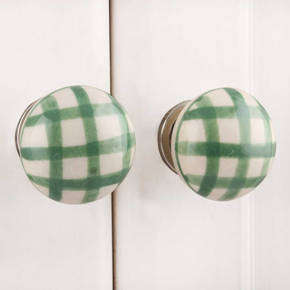 Green Checked Flat Knob