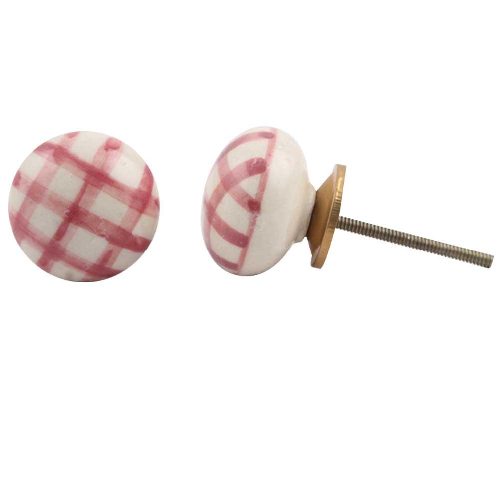 Pink Checked Flat Knob