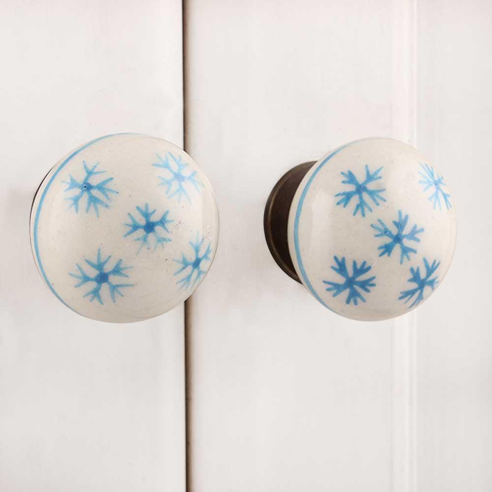 Blue Snow Flakes Knob (1)