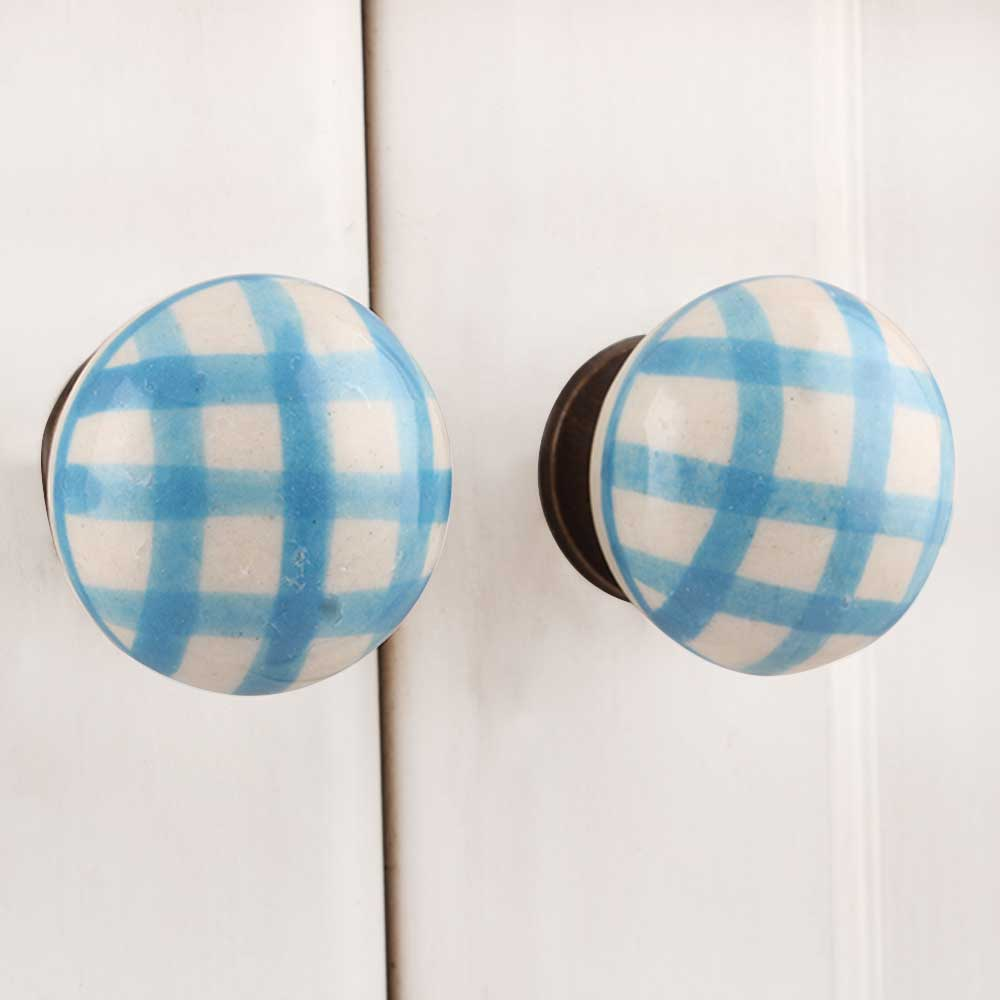 Turquoise Checked Knob