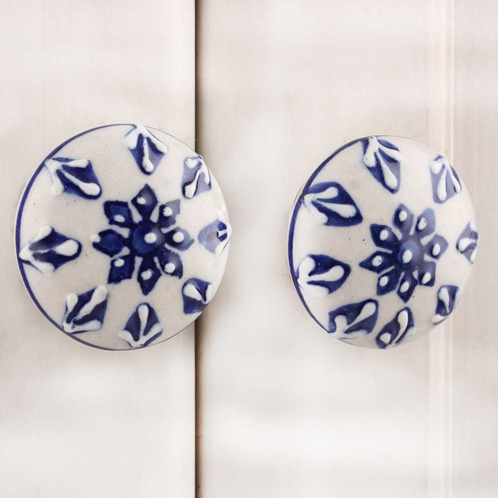 Blue Tiny Flower Flat Knob