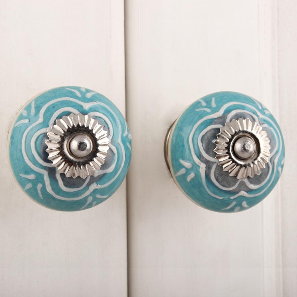 Sea Green Flower Ceramic Knob