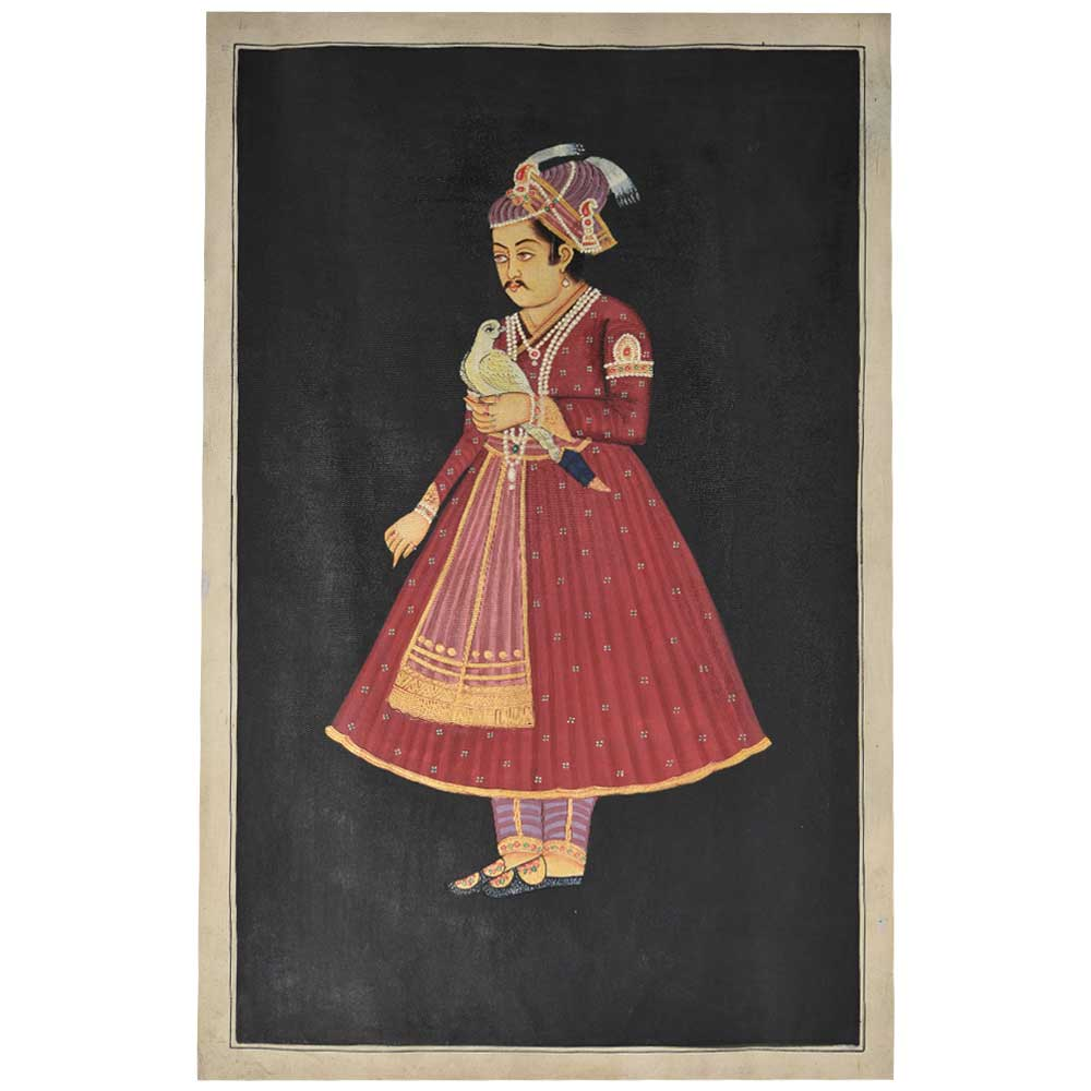 Jahangir with a hawk mughal painting 35 X 23.5