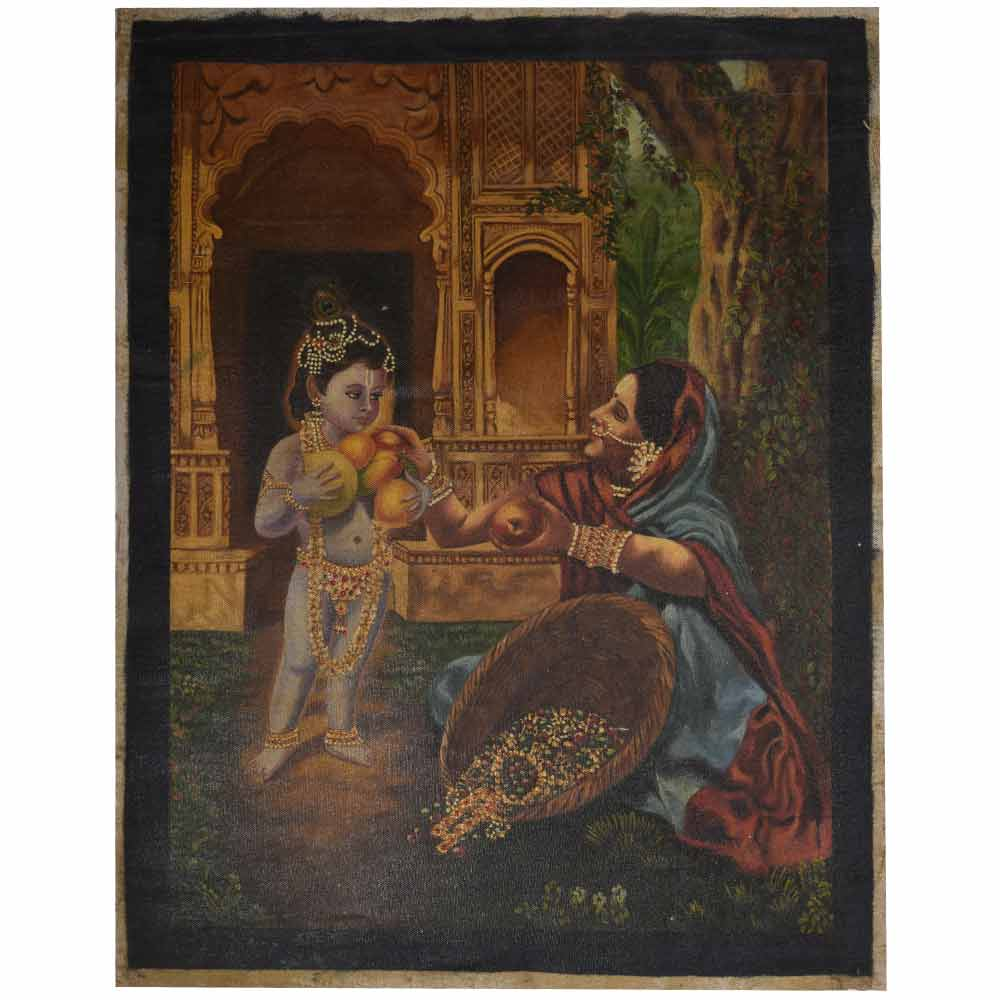 Very old hand painted krishna painting 24.5 X 31.5