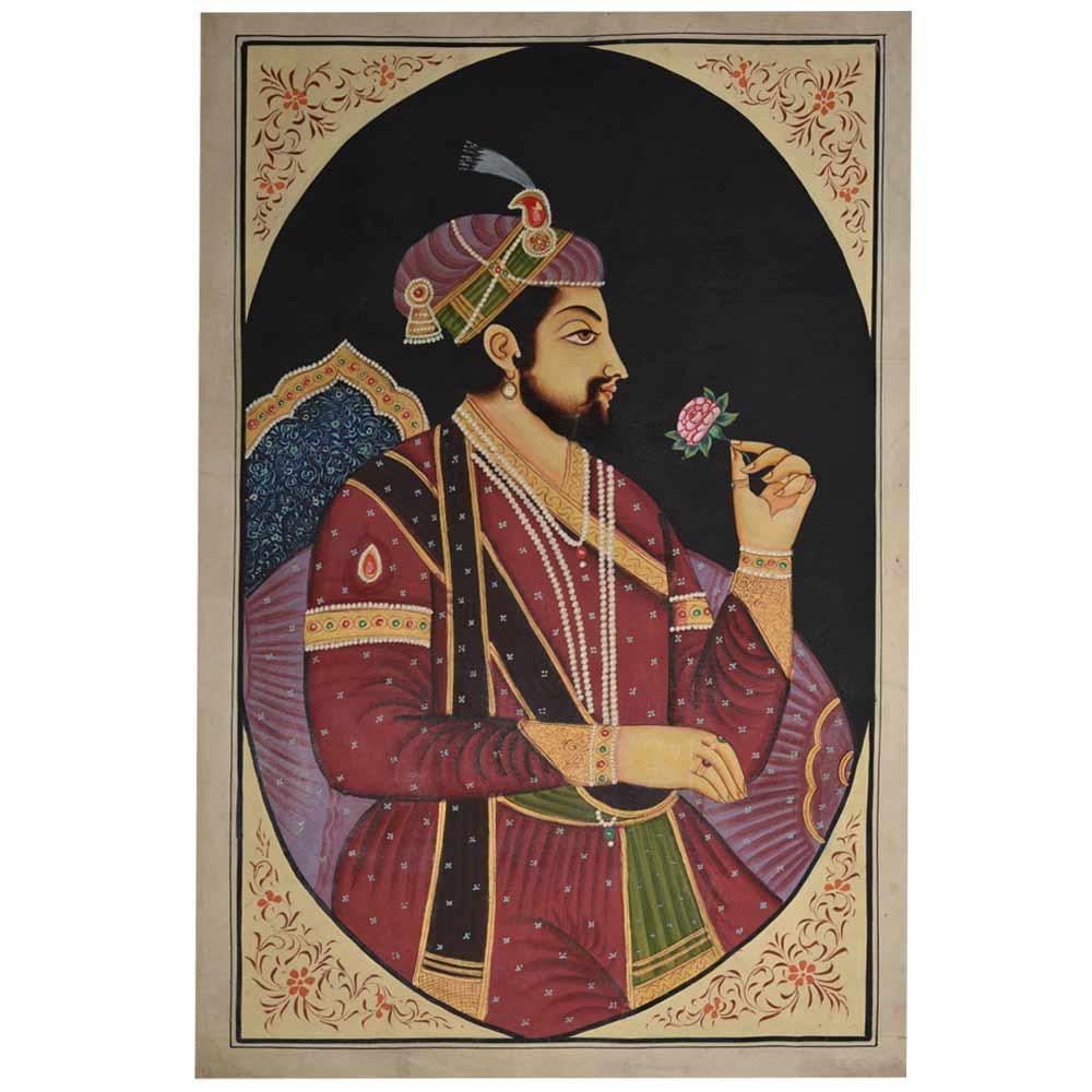 Jodha akbar mughal painting with a rose 35 X 24
