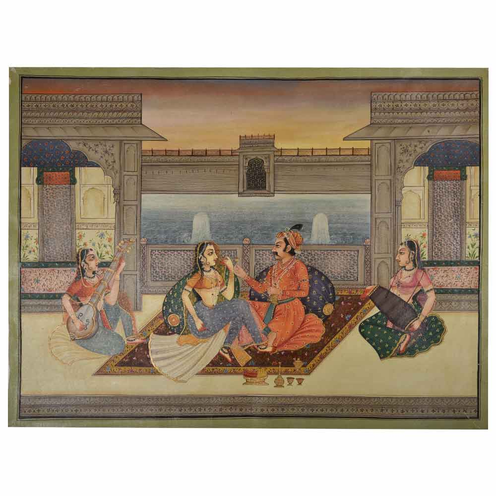 Painting of royal beloveds in mughal painting 36 X 48