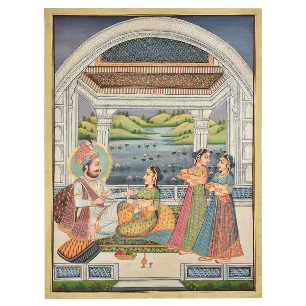 Mughal period indian moghul harem water colour painting 47.5 X 35.5