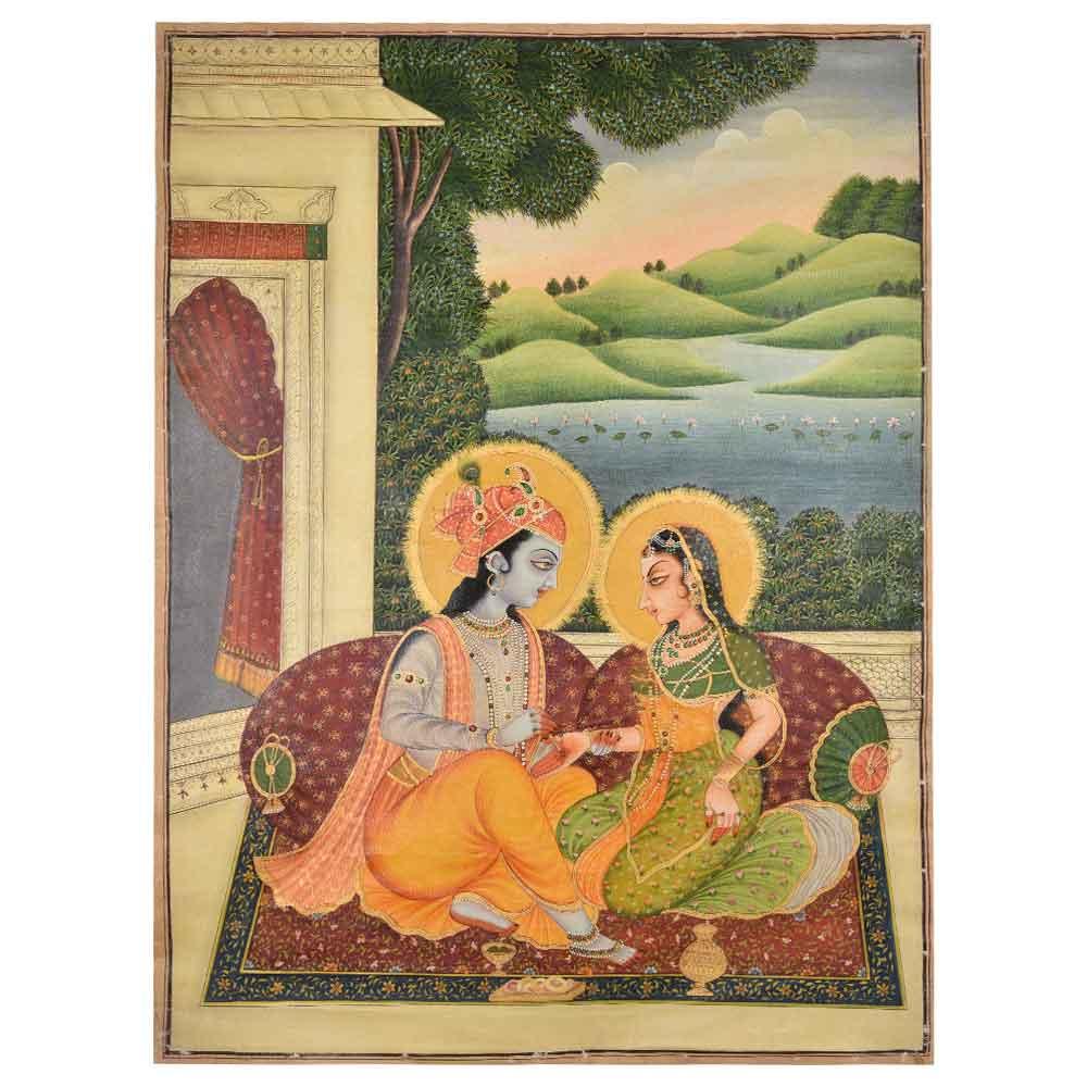 Indian painting of Radha Krishna 46 X 34