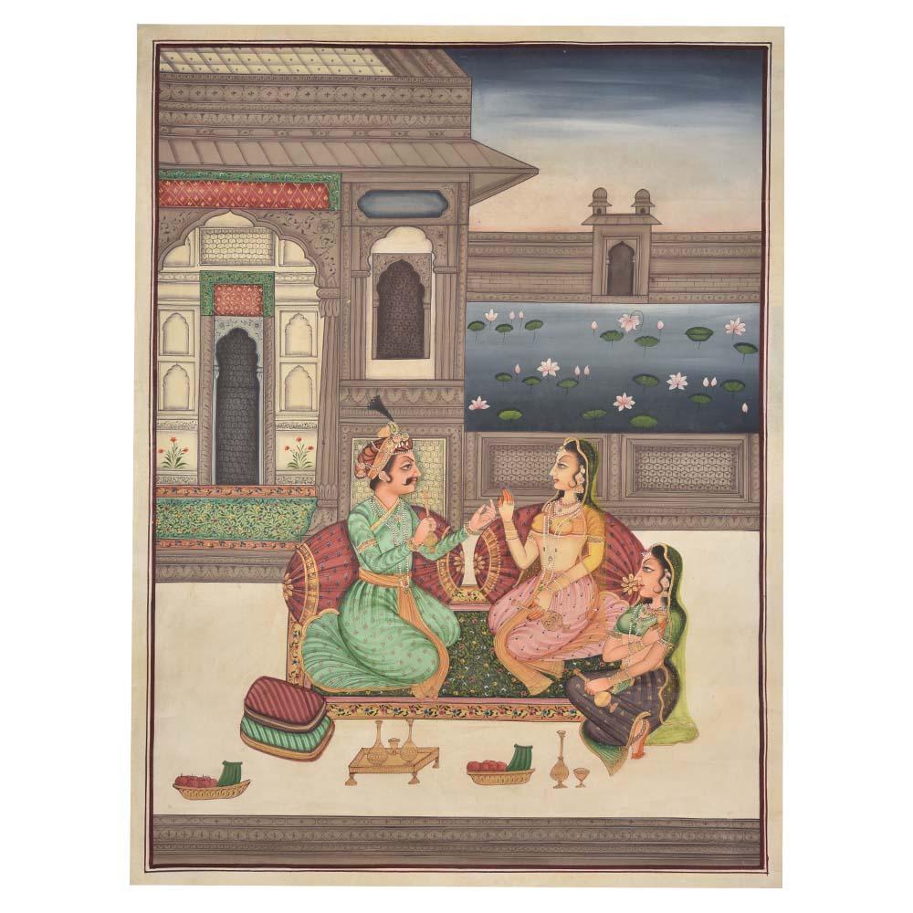 Royal romance moghul painting 48 X 36