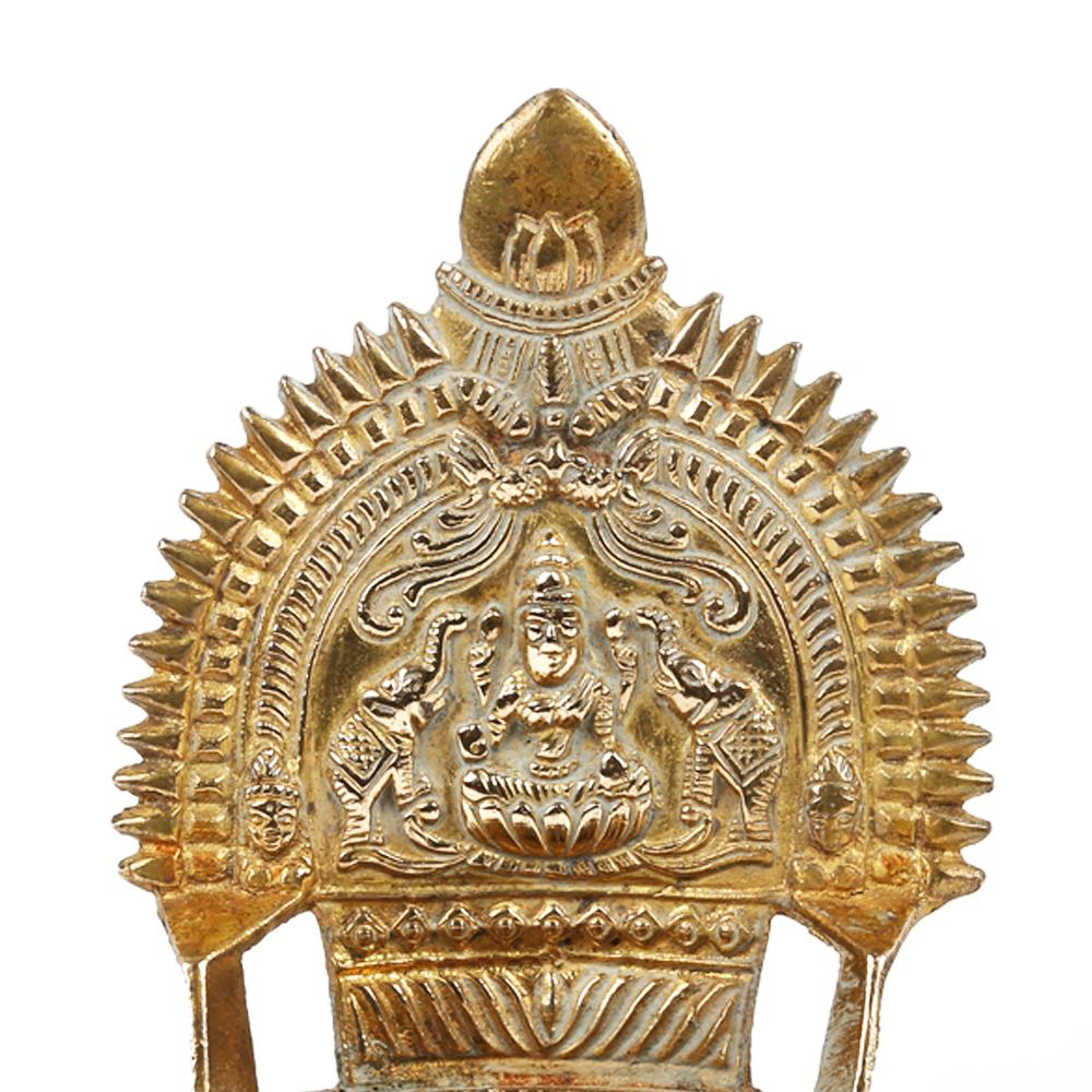 Hindu Ritual Oil Lamp with Deeplakshmi in Bronze