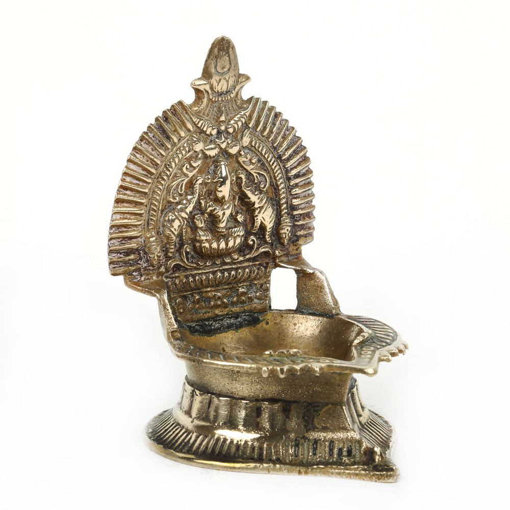 Goddess Lakshmi Figure Holy Worship Oil Lamp