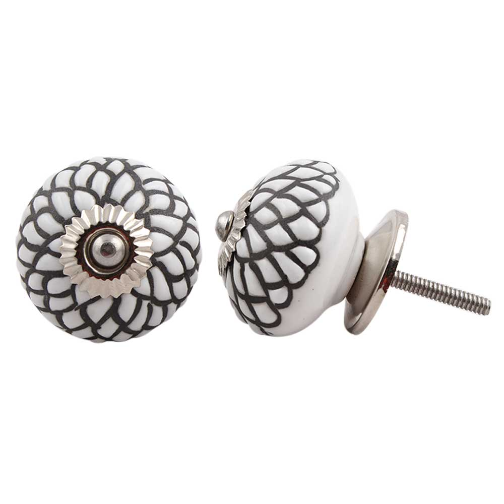 White Black Etched Floral Knob