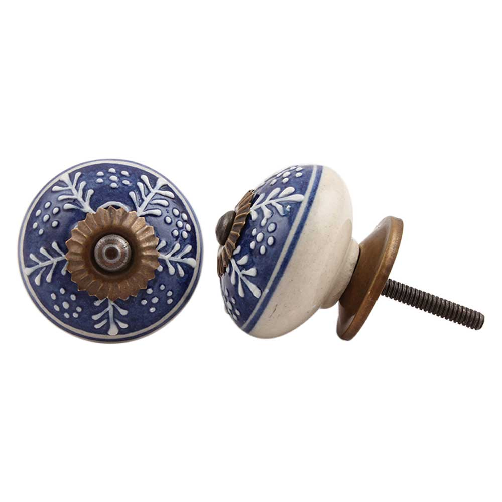 Navy Blue White Leaf Knob