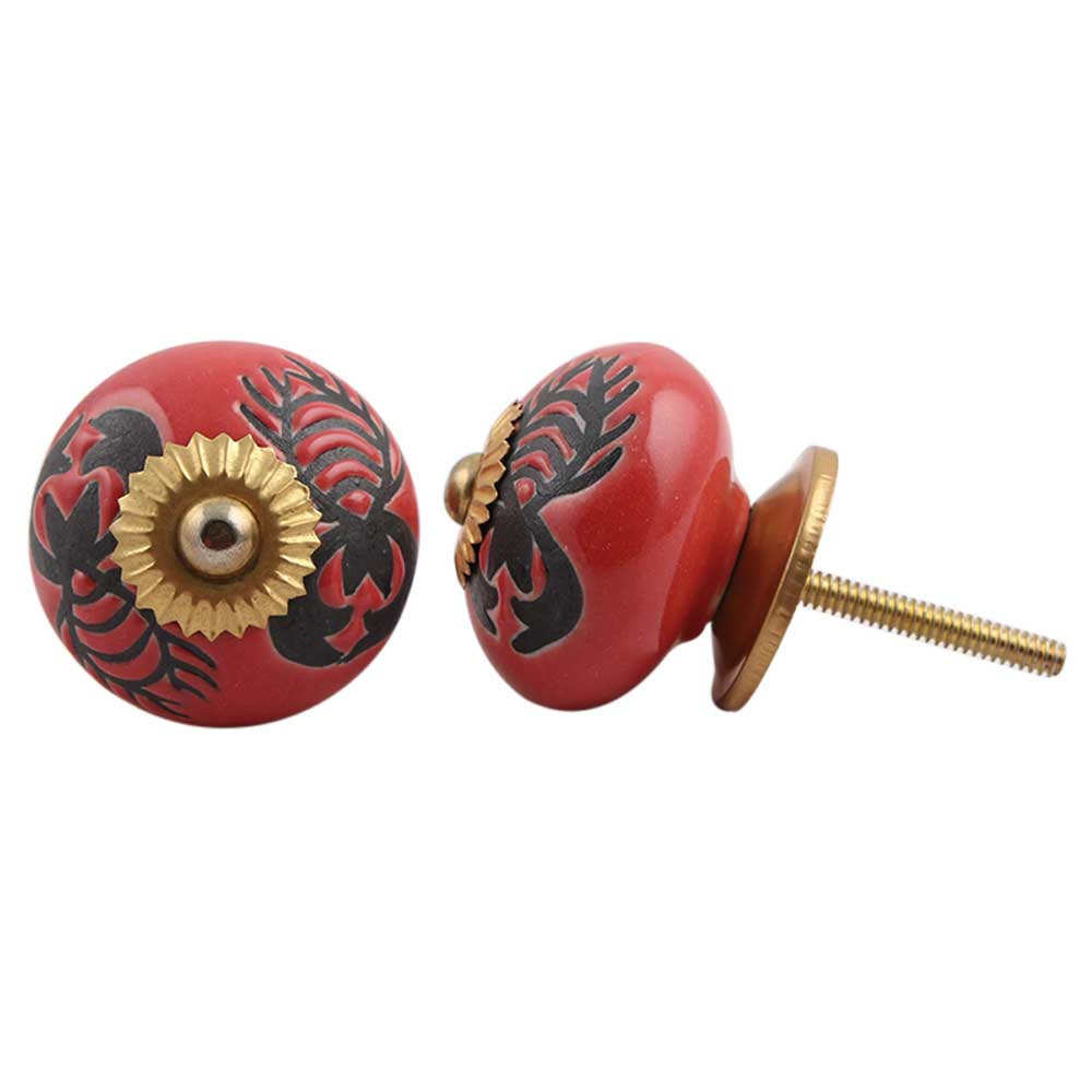 Red Scorpion Painted Knob