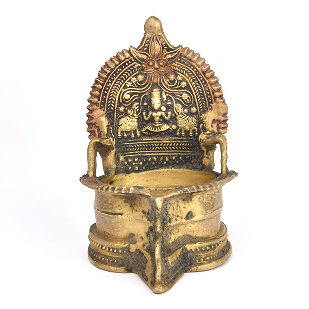 Ornate Gaja Lakshmi Bronze Oil Lamp
