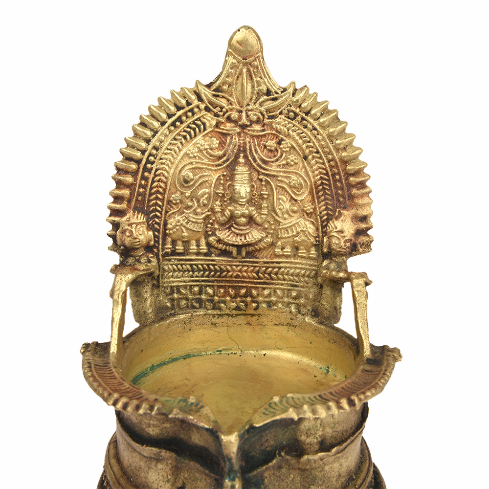 Old Indian Ethnic Ritual Bronze Oil Lamp