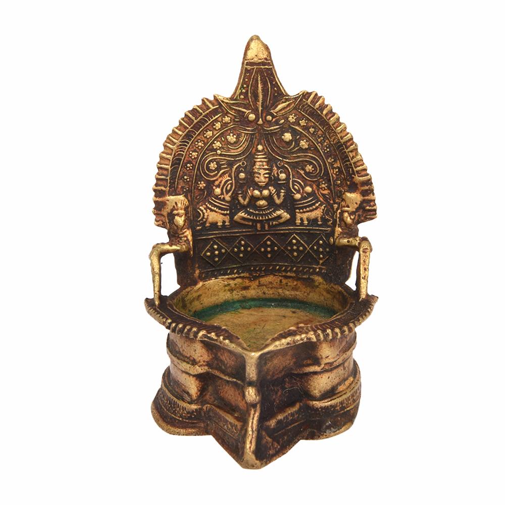 Hindu Goddess Bronze Lakshmi Oil Lamp