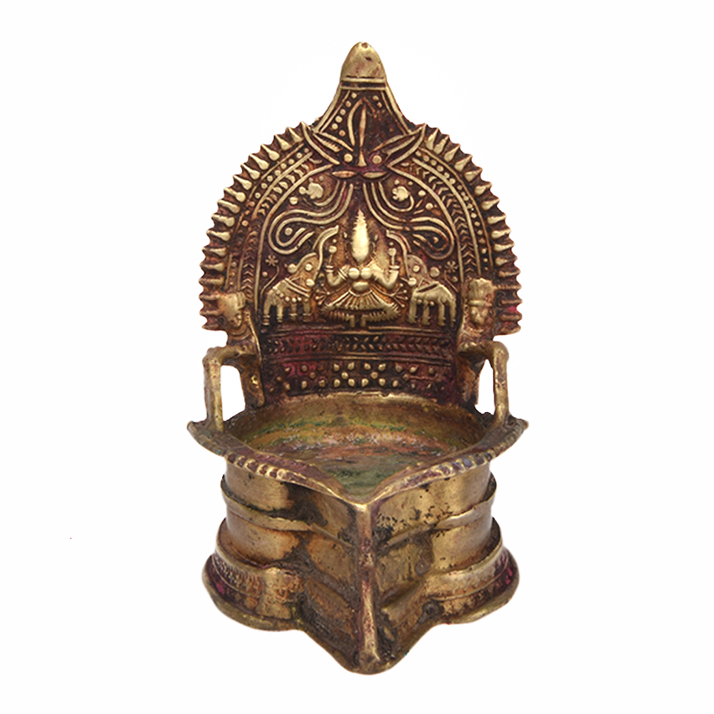 Goddess Lakshmi Lamp in Bronze.