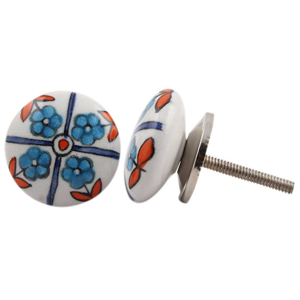 Turquoise Floral Pattern Knob