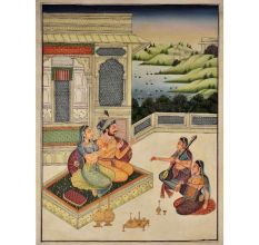Indian painting of the medieval age mughal painting 47.5 X 35.5