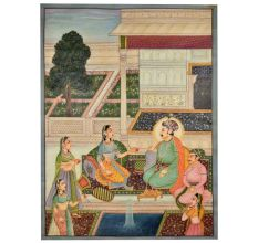 Jahangir and prince khurram with Noorjahan painting 47.5 X 35
