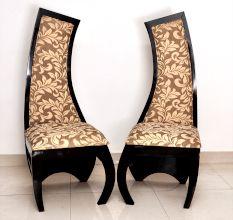 Pair of Designer Bedroom/Living Room Chair-Curved Back