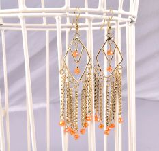 Hand Made Golden Metal Long With Dash Of Orange Color