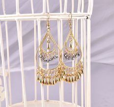 Earrings Statement With Silver Teardrop Stones Earrings