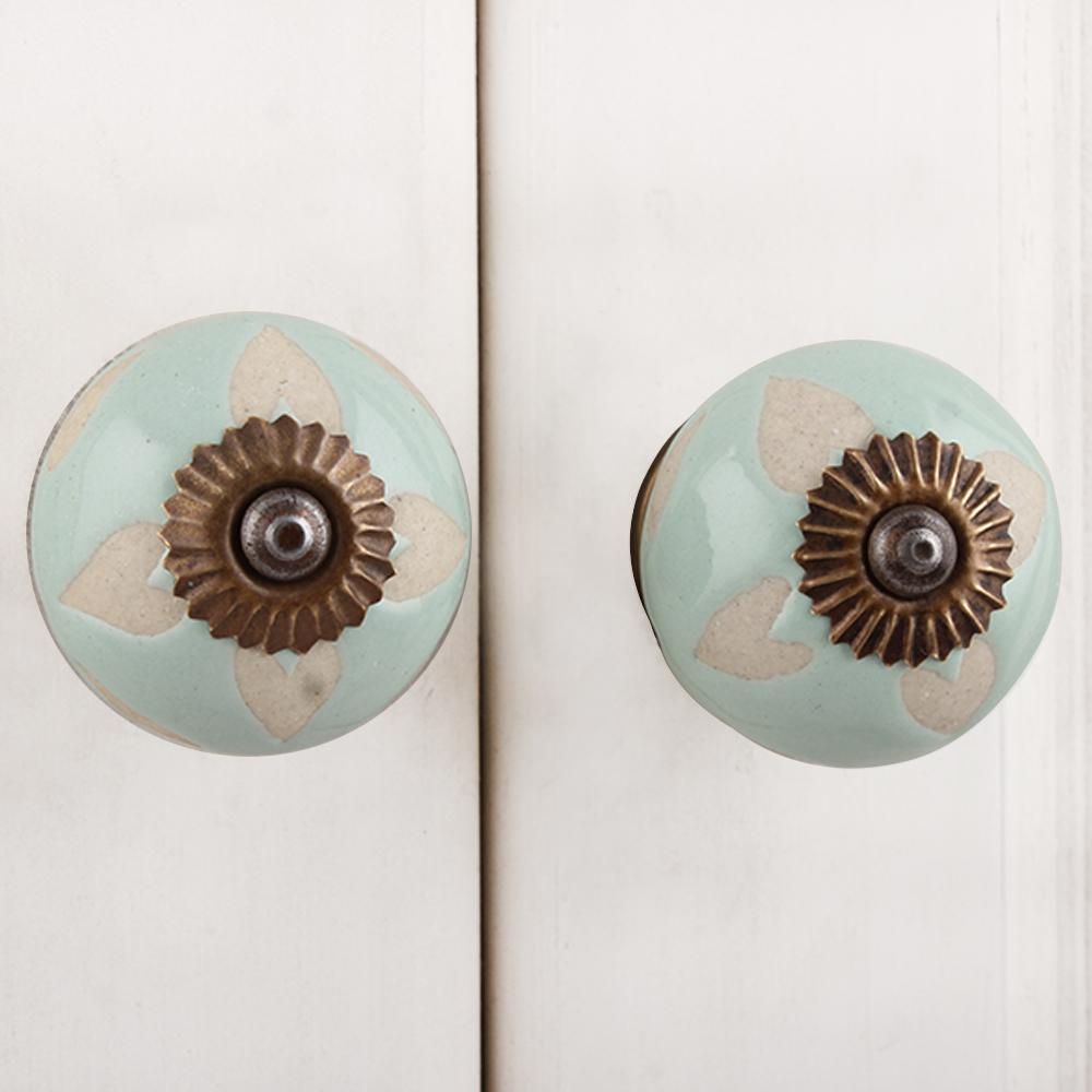 Sage Green Etched Ceramic Knob-12