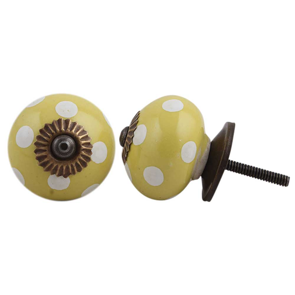 Lemon Yellow White Dot Knob