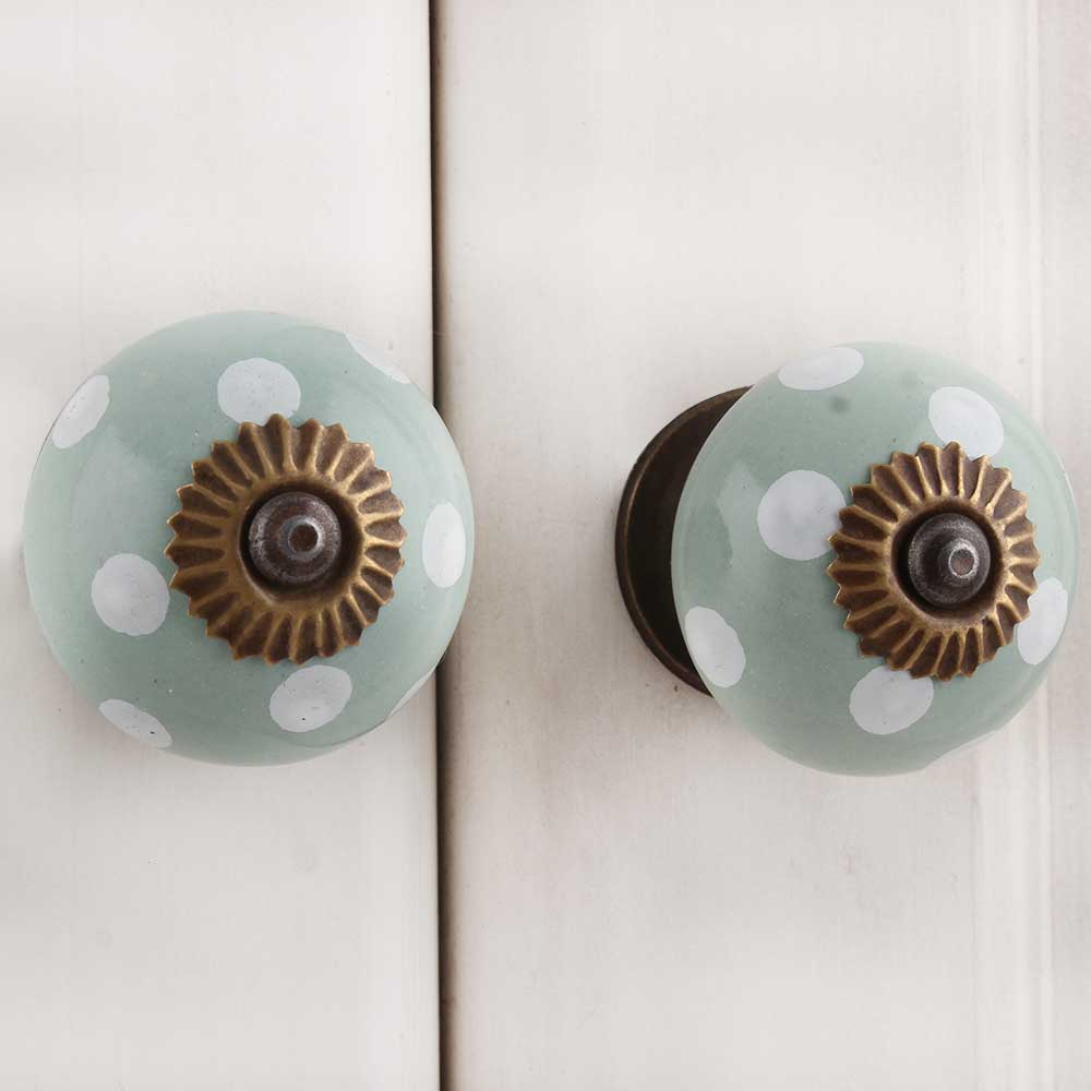 Sage Green White Dot Ceramic Dresser Knob
