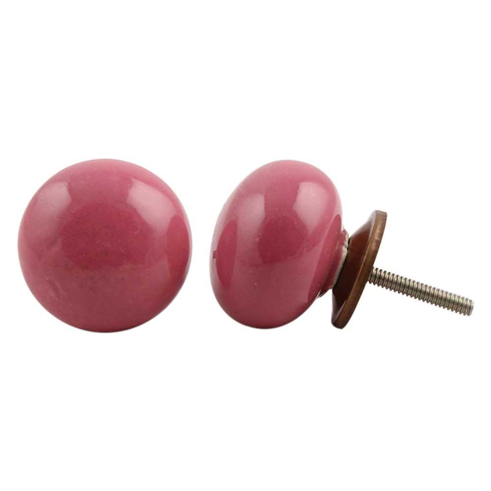 Dark Pink Flat Knob