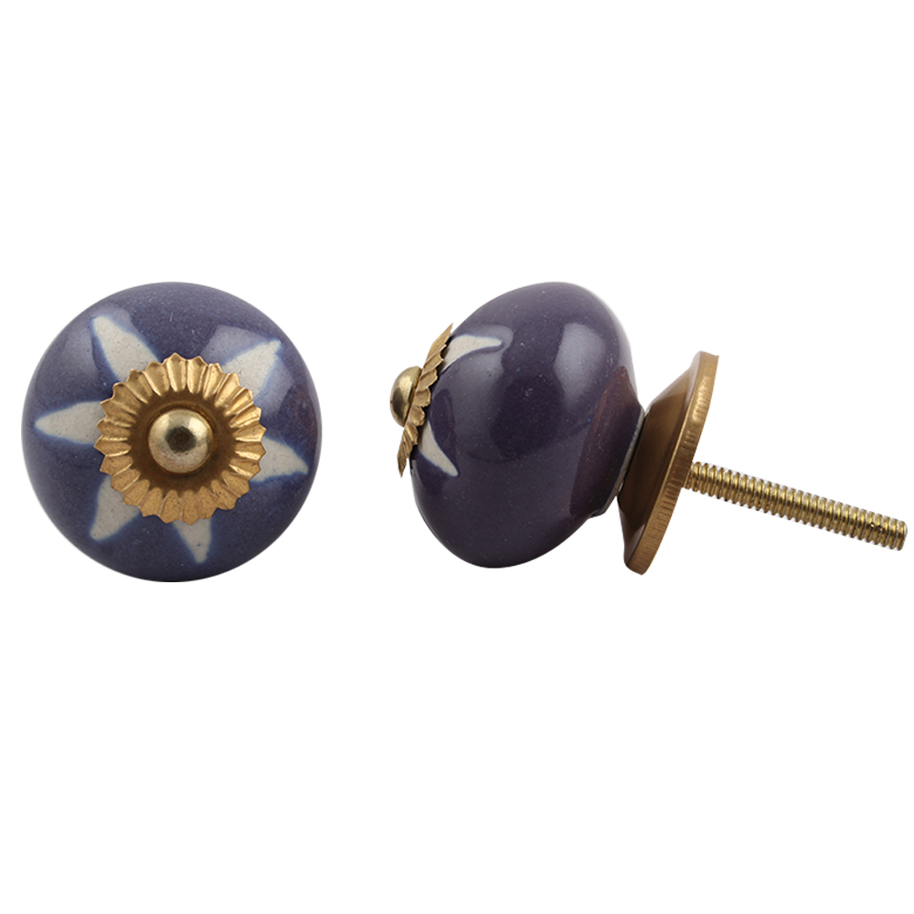 Purple Etched Ceramic Knob 44