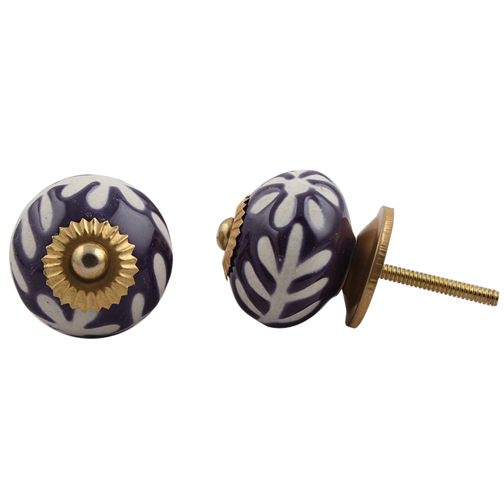 Purple Etched Ceramic Knob 45