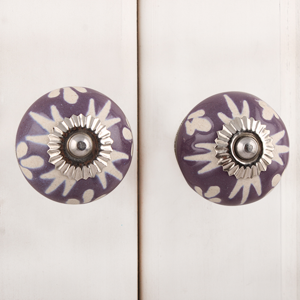 Purple Etched Ceramic Knob 46