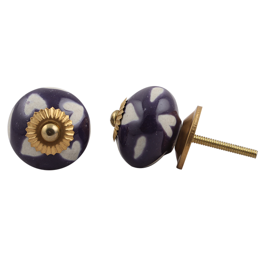 Purple Etched Ceramic Knob 47