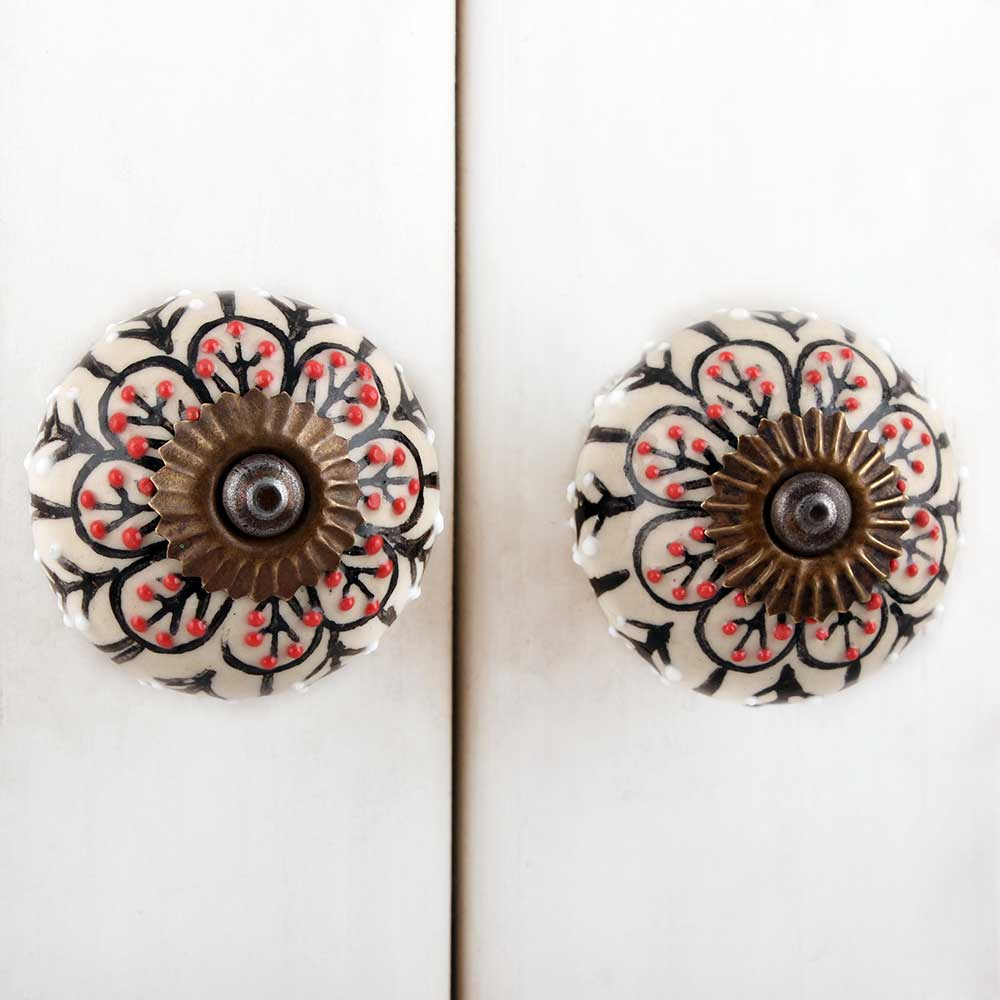 Black Red Flower Dresser Knob